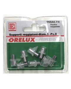 ORECA - 8 SUPPORTI REGGIPIANO IN PLASTICA TRASPARENTE CON PERNO IN METALLO