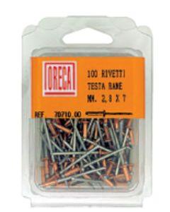 ORECA - 100 RIVETTI TESTA IN RAME 2,8X7MM