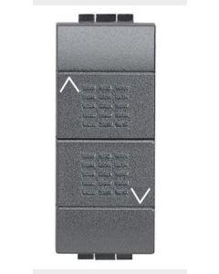 BTICINO LIVING - COMMUTATORE DOPPIO TASTO (1-0-2) - 16A 250 Vac - COLORE ANTRACITE