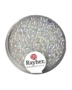 RAYHER - 17 GRAMMI - PERLINE ROTONDE IN VETRO TRASPARENTE Ø2,6MM - COLORE ARGENTO