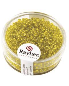 RAYHER - 17 GRAMMI - PERLINE IN VETRO CON FORO ARGENTATO Ø2MM - COLORE GIALLO