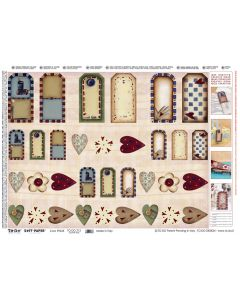 TO-DO - CARTA DECOUPAGE SOFT-PAPER 50X70 Cm COUNTRY TAGS