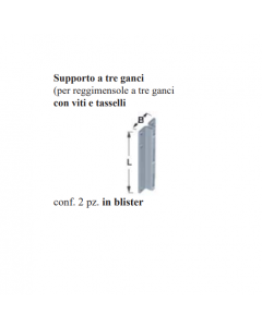 ELEMENT SYSTEM-2 SUPPORTI A TRE GANCI CON VITI E TASSELLI BIANCO