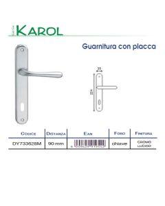 HOME SYSTEM - GUARNITURA CON PLACCA SERIE KAROL IN CROMO LUCIDO CON FORO
