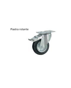 ORECA - RUOTA GOMMATA NERA CON FRENO E PIASTRA ROTANTE M100