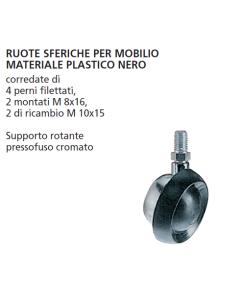 ORECA - COPPIA DESTRA/SINISTRA RUOTE SFERICHE DIAMETRO 55 mm CON PERNO