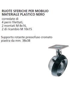 ORECA - COPPIA DESTRA/SINISTRA RUOTE SFERICHE DIAMETRO 55 mm CON PIASTRA 38X38 MM