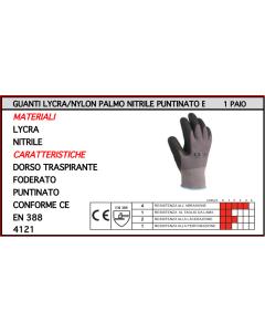 ORECA - GUANTI LYCRA/NYLON NITRILE PUNTINATO TG 9