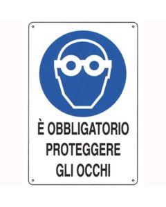 PUBBLICENTRO - CARTELLO E' OBBLIGATORIO PROTEGGERE GLI OCCHI 300X200mm IN ALLUMINIO