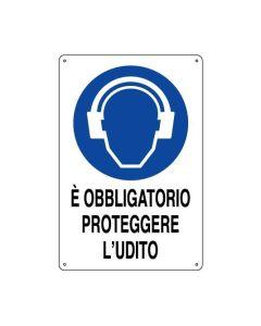 PUBBLICENTRO - CARTELLO E' OBBLIGATORIO PROTEGGERE L'UDITO 300X200mm IN ALLUMINIO