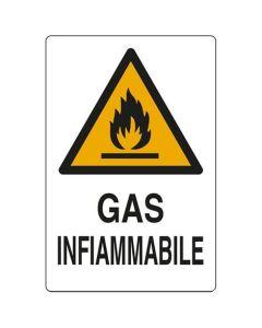 PUBBLICENTRO - CARTELLO GAS INFIAMMABILE 300X200mm IN  ALLUMINIO