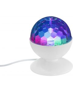 BRILONER - DISCO LIGHT LAMPADA LED GIREVOLE MULTICOLOR  3 watt RGB DIAMETRO 12,5cm BIANCA