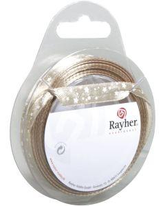 RAYHER - NASTRO IN RASO CON STELLE  H1 CM ROTOLO 10MT TORTORA