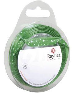 RAYHER - NASTRO IN RASO CON STELLE  H1 CM ROTOLO 10MT VERDE ABETE