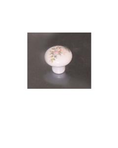 oreca - 1 POMOLO TONDo IN PORCELLANA BIANCA CON FIORE 30X25mm
