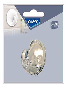 GPI - 1 GANCIO OVALE IN PLASTICA TRASPARENTE ADESIVO