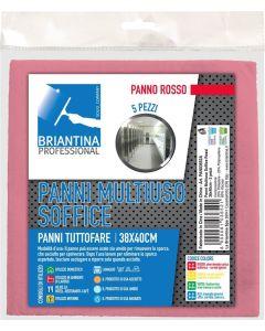 La Briantina PAN03652A Panno Multiuso Soffice, 38 x 40 cm, Rosso, 5 Pezzi