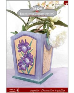 TO-DO - DECORATIVE PAINTING - CACHEPOT CON IRIS PROGETTO 37