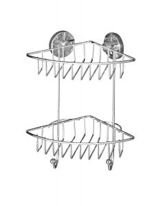 Wenko 20888100 Vacuum-Loc angolare 2 piani Bari - fissaggio senza trapano, Acciaio, 22.5 x 29.5 x 16 cm, Cromo