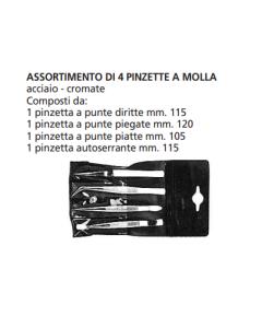 ORECA ASSORTIMENTO 4 PINZETTE A MOLLA ACCIAIO-CROMATE
