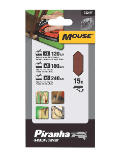 BLACK&DECKER PIRANHA-15 FOGLI CON VELCRO PER MOUSE GRANA ASSORTITA X32477-XJ