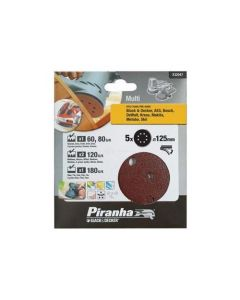 BLACK&DECKER PIRANHA-5 DISCHI CARTA ABRASIVA PER ROTORBITALE mm 125 GRANA ASSORTITA X32047
